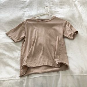 topshop distressed dusty pale pink tee